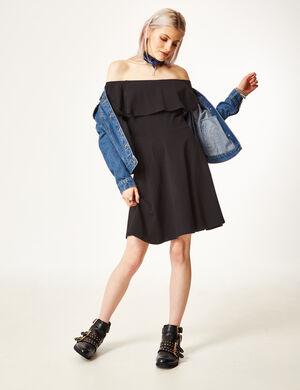 Product Robe femme, noir, évasé, épaules dénudées avec volant.Marque Jennyfer Catégorie robes