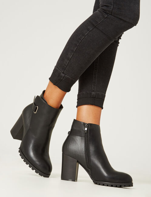 Black mixed fabric ankle boots