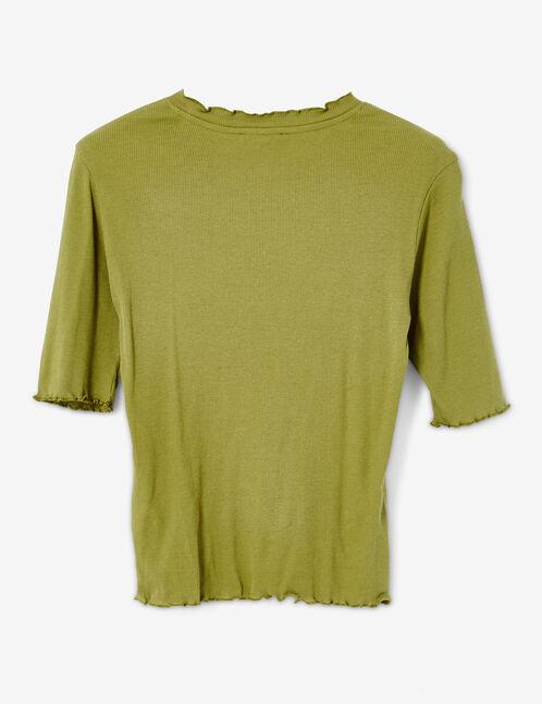 Basic khaki ribbed T-shirt
