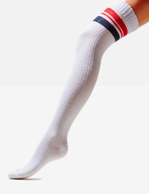 White striped over-the-knee socks