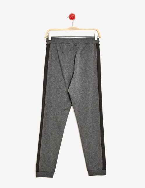 jogging détails côtelés gris anthracite chiné et noir