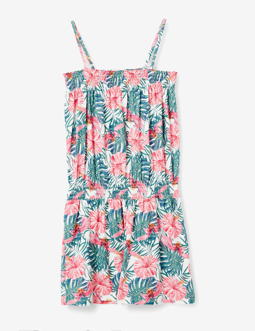 Cream playsuit with a pink and green floral print