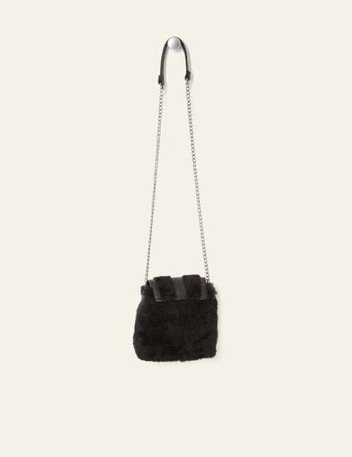 Black plush fabric crossbody bag
