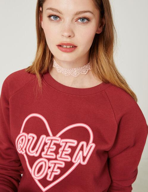 """Red """"Queen of Hearts"""" sweatshirt"""