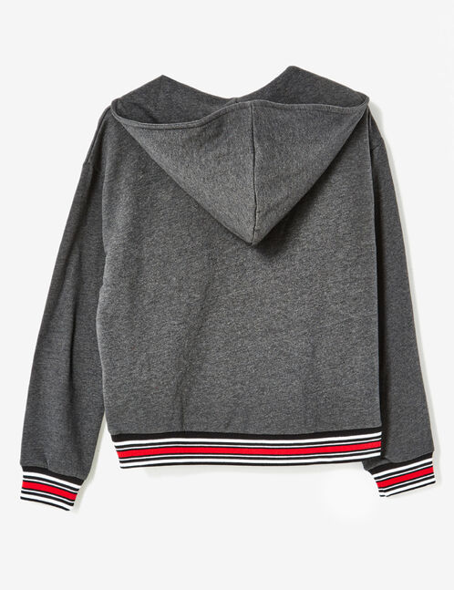 Charcoal grey marl sweatshirt with lacing detail