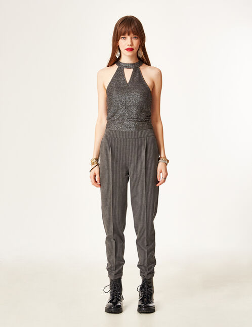 Charcoal grey marl pinstripe tailored trousers