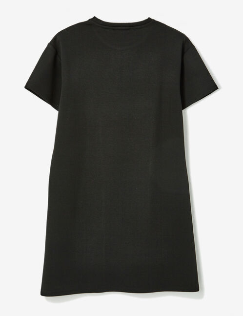 Black T-shirt dress with text design detail