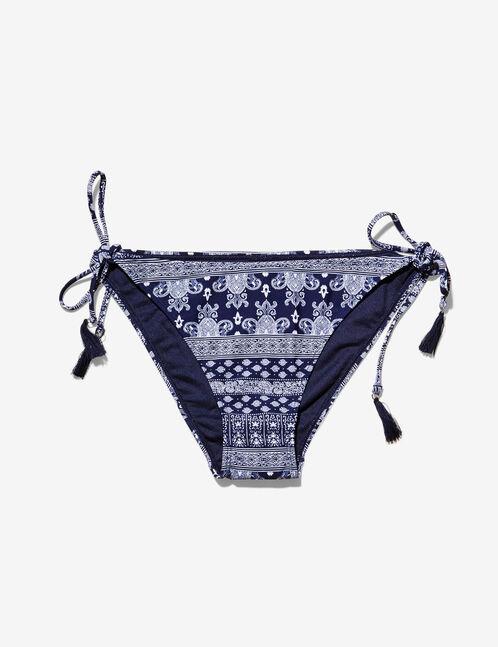Cream and navy blue printed bikini briefs