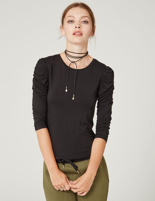 tee-shirt manches froncées noir