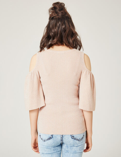 Light pink cold shoulder top with lurex detail