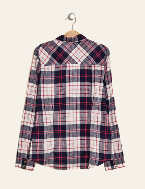 Navy blue, cream and pink checked cotton shirt