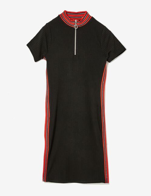Black ribbed zip-up dress