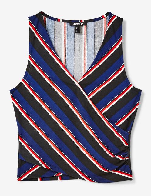Navy blue striped wrap tank top