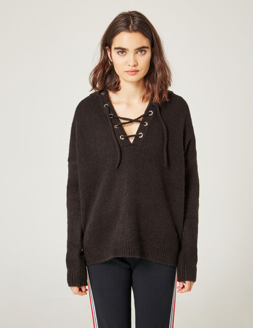 Black jumper with lacing detail