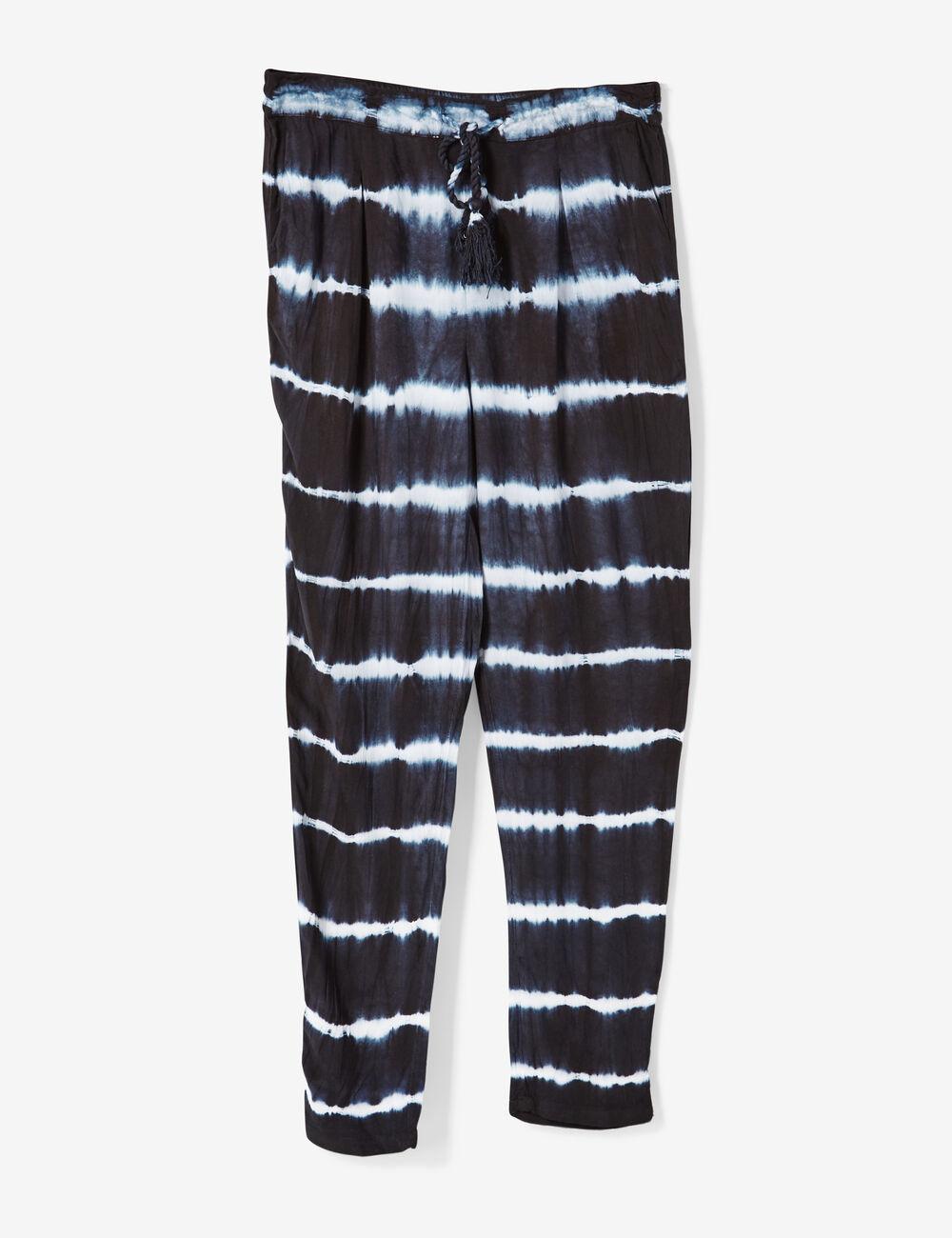 pantalon fluide tie and dye bleu et blanc femme jennyfer. Black Bedroom Furniture Sets. Home Design Ideas
