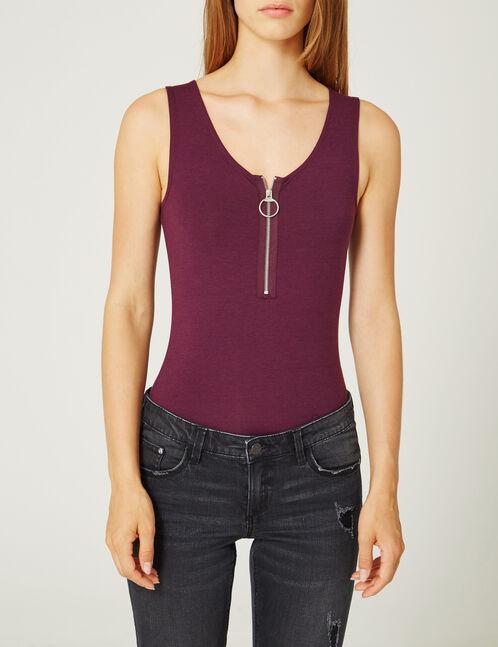body avec zip violet