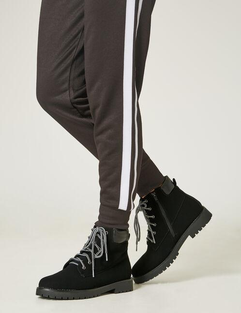 Black two-tone lace combat boots