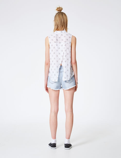 White rabbit print shirt