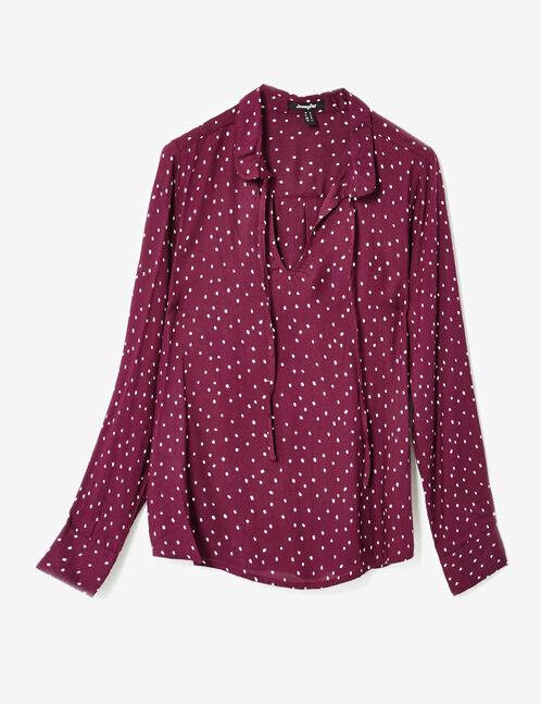 chemise à pois violet