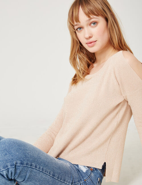 Light pink cold shoulder jumper