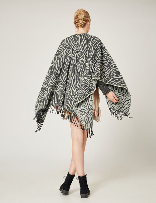 Grey zebra print cape