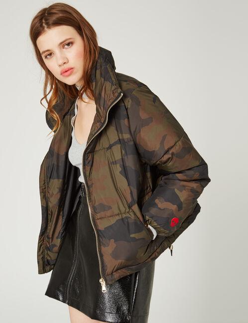 Khaki camouflage oversized padded jacket