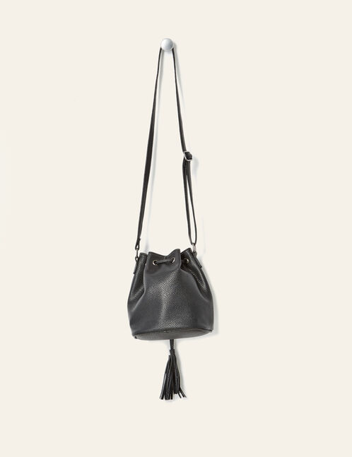 Black bucket bag with eyelet detail