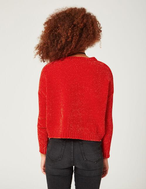 pull en chenille rouge