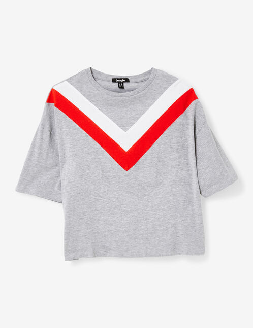 Women's grey marl, red and white T-shirt with a chevron motif