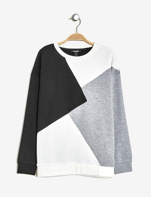 Black, grey marl and cream patchwork-style sweatshirt