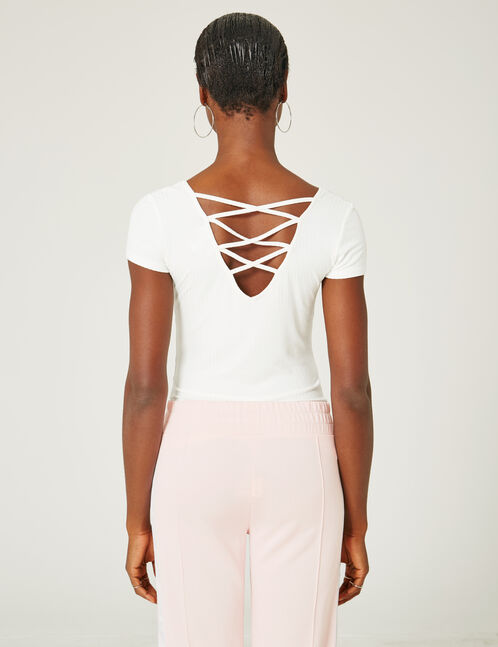 Cream deep-back top with strap detail