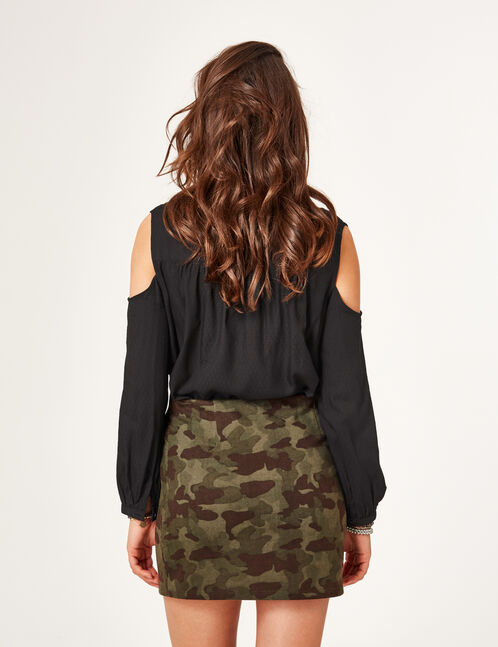 Khaki camouflage skirt with lacing detail