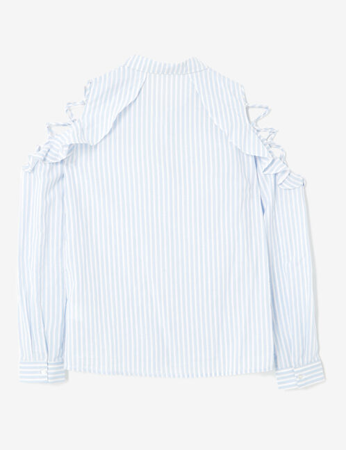 Light blue and cream striped shirt with lacing detail