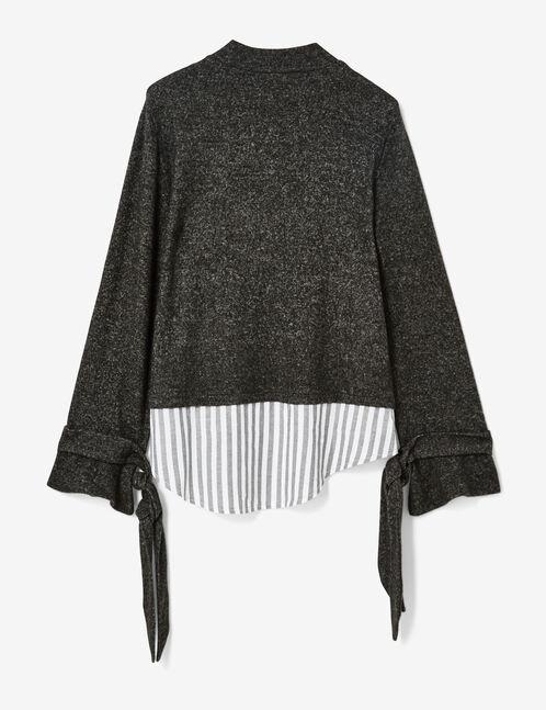 tee-shirt bi-matière gris anthracite chiné