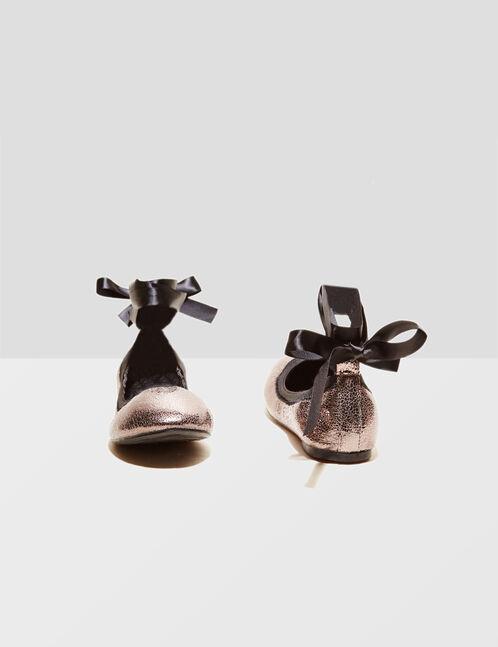 Grey lace-up ballet pumps
