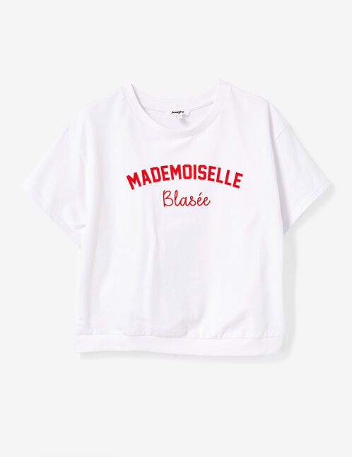 sweat manches courtes blanc