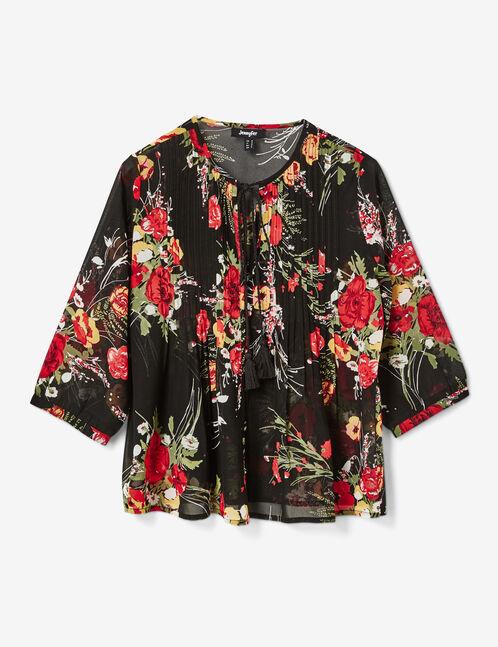 blouse fleurie transparente noire