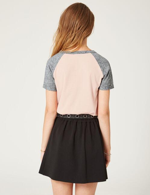 tee-shirt bicolore à message rose clair et gris chiné