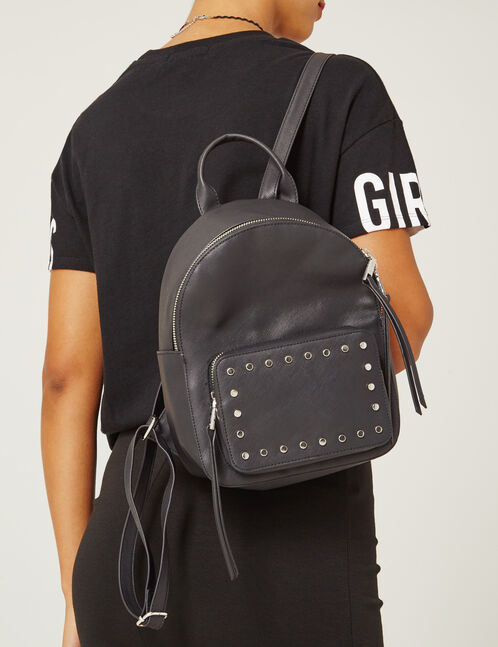 Small black backpack with stud detail