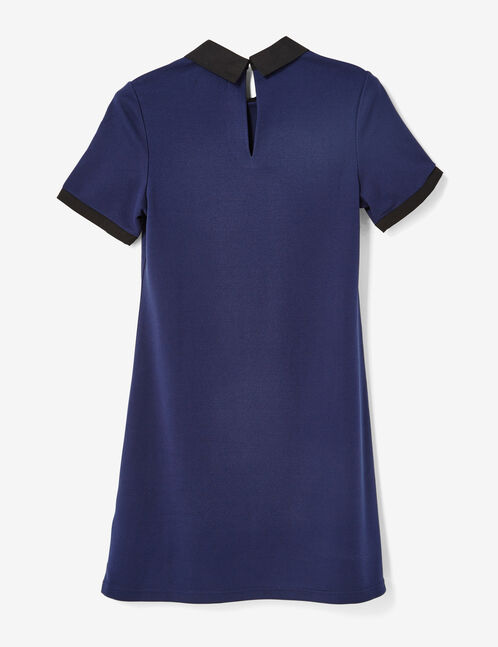 Navy blue dress with black collar detail