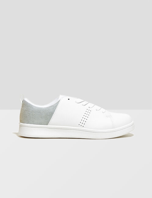 White and sea green mixed fabric trainers