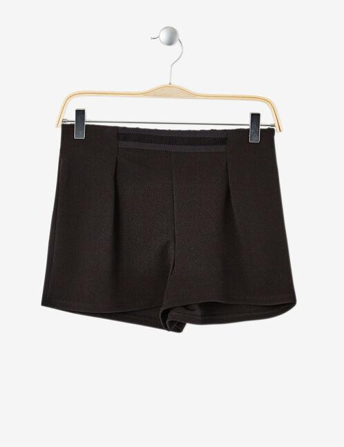 Black crêpe shorts with mesh detail