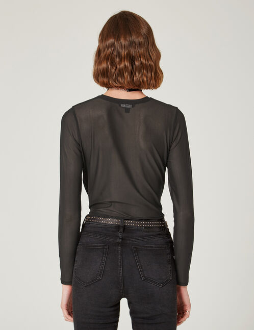 Black embroidered mesh top