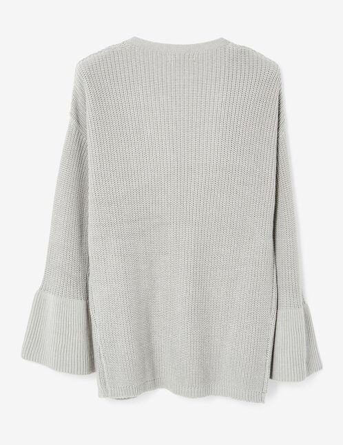 Grey marl open cardigan with pagoda sleeves
