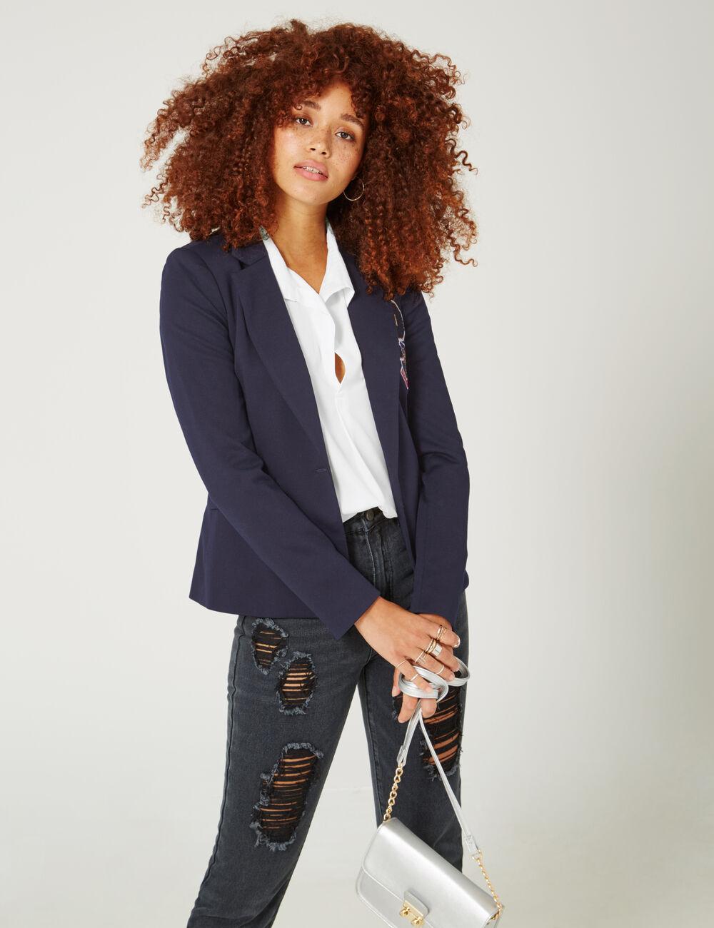 veste blazer patchs bleu marine femme jennyfer. Black Bedroom Furniture Sets. Home Design Ideas