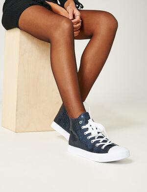 Baskets Montantes pailletées noires bleues