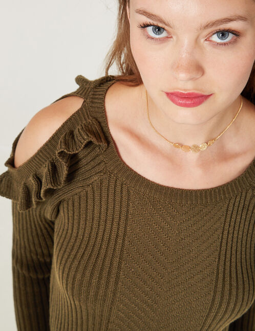 Khaki jumper with frill detail
