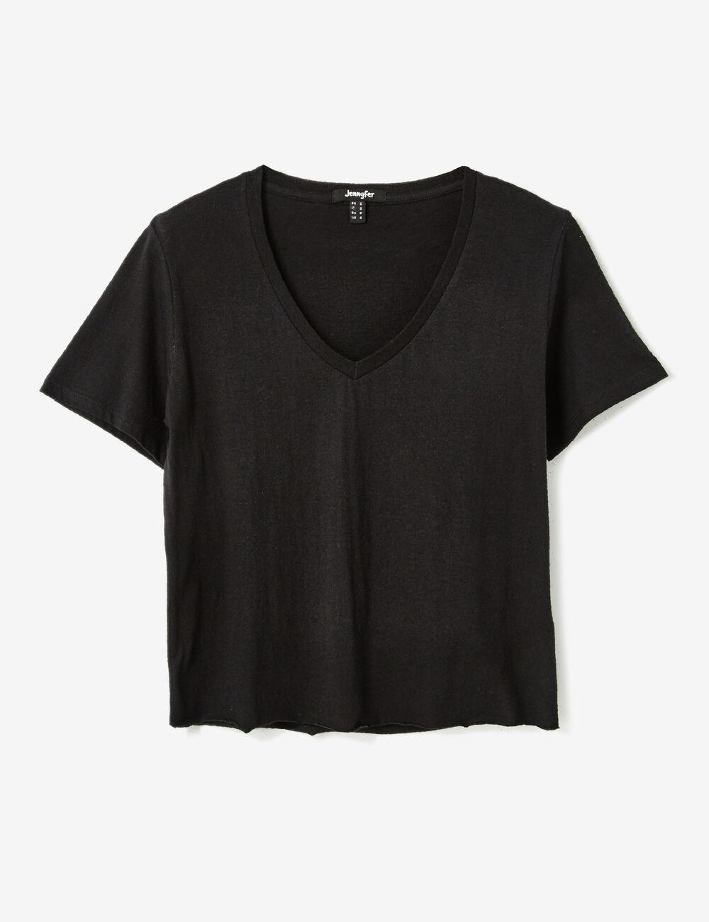 tee shirt basic noir femme jennyfer. Black Bedroom Furniture Sets. Home Design Ideas
