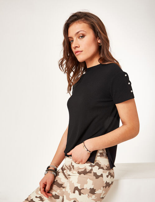 Black T-shirt with beading detail