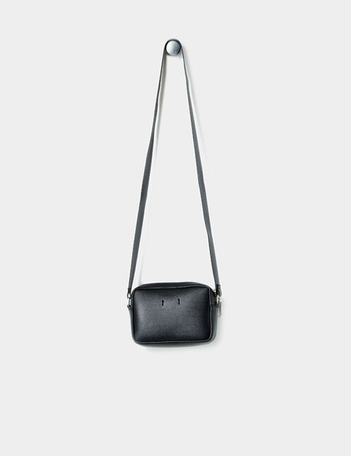 Small black and white zipped cross-body bag